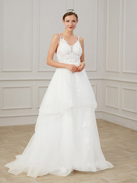 A-Line Wedding Dresses V Neck Sweep \ Brush Train Chiffon Lace Tulle Sleeveless Formal Plus Size_5