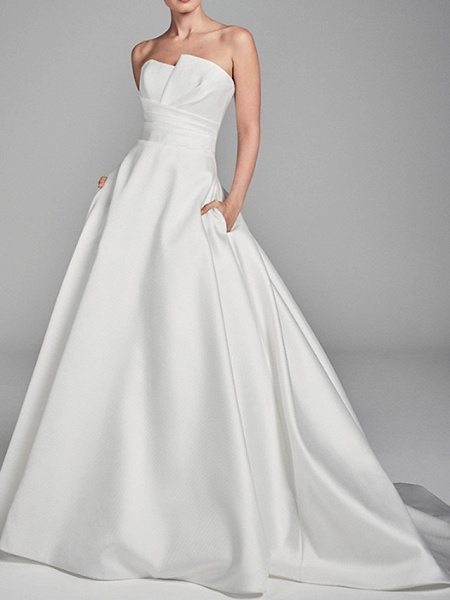 A-Line Wedding Dresses Strapless Sweep \ Brush Train Charmeuse Strapless_1