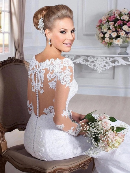 Mermaid \ Trumpet Wedding Dresses Sweetheart Neckline Court Train Lace Tulle Lace Over Satin Long Sleeve Sexy Backless Illusion Sleeve_5