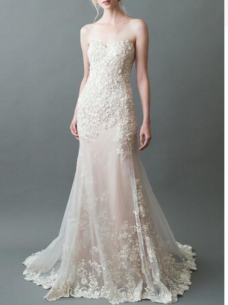 Mermaid \ Trumpet Sweetheart Neckline Sweep \ Brush Train Tulle Strapless Wedding Dresses_1