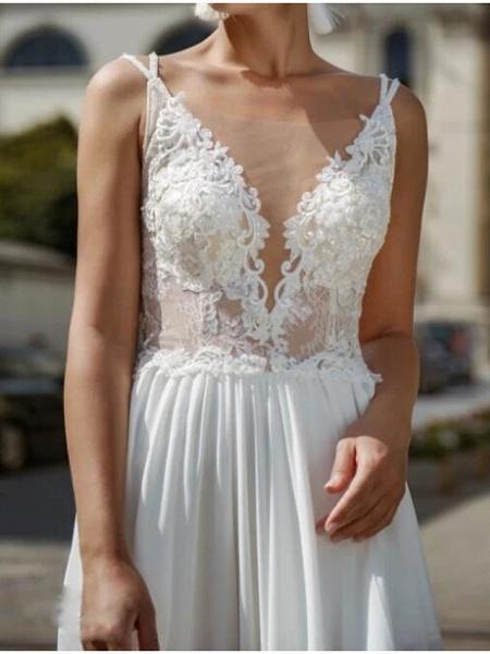 A-Line Wedding Dresses V Neck Court Train Chiffon Lace Sleeveless Beach Sexy See-Through_3