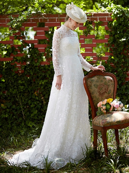 A-Line Wedding Dresses Illusion Neck Court Train All Over Lace Long Sleeve Floral Lace_7