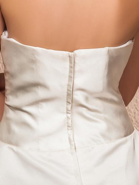 Ball Gown A-Line Wedding Dresses Strapless Knee Length Satin Sleeveless Little White Dress_8