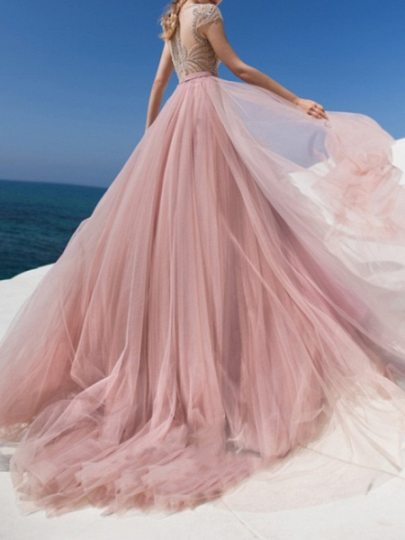 A-Line Jewel Neck Sweep \ Brush Train Chiffon Lace Tulle Short Sleeve Beach Sexy Wedding Dress in Color See-Through Wedding Dresses_3