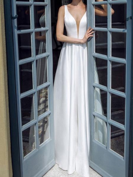 A-Line Wedding Dresses Plunging Neck Sweep \ Brush Train Taffeta Chiffon Over Satin Sleeveless Country Plus Size_2