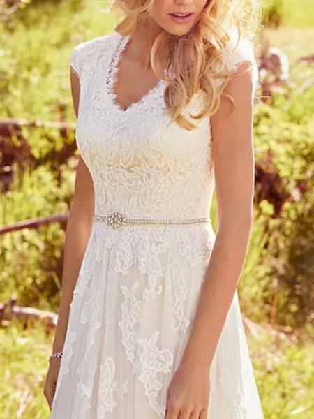 A-Line Wedding Dresses V Neck Sweep \ Brush Train Lace Tulle Regular Straps Vintage Illusion Detail_2
