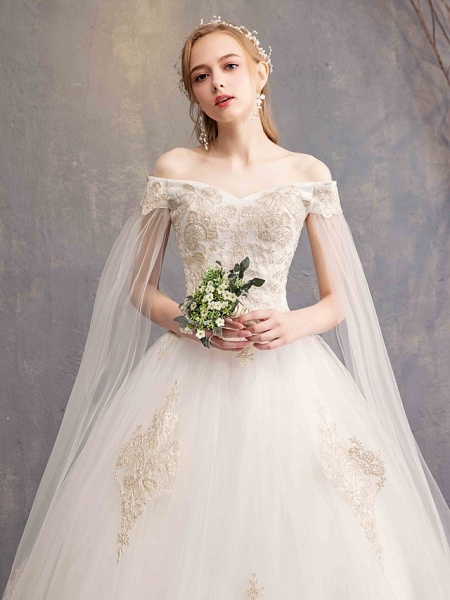 Ball Gown Wedding Dresses Off Shoulder Maxi Tulle Lace Over Satin Short Sleeve Glamorous Illusion Detail_2