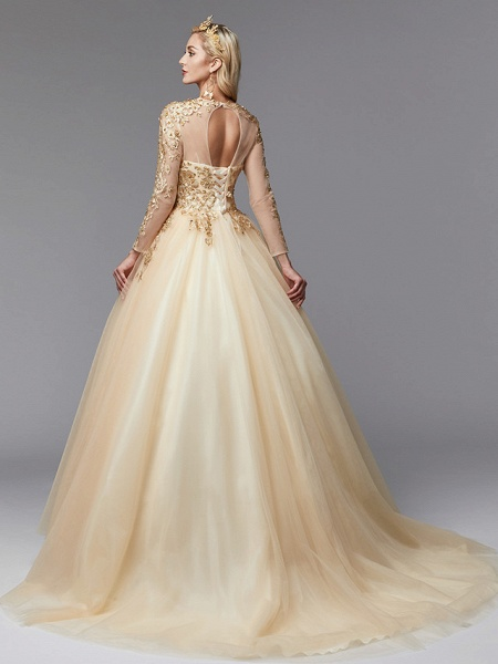 Ball Gown Wedding Dresses Jewel Neck Sweep \ Brush Train Lace Tulle Long Sleeve Glamorous See-Through Backless Modern_2