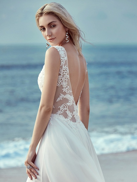 A-Line Wedding Dresses V Neck Sweep \ Brush Train Chiffon Lace Regular Straps Cutouts_8