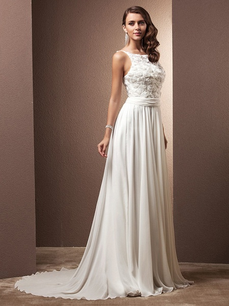 A-Line Wedding Dresses Scoop Neck Sweep \ Brush Train Chiffon Spaghetti Strap Formal_8