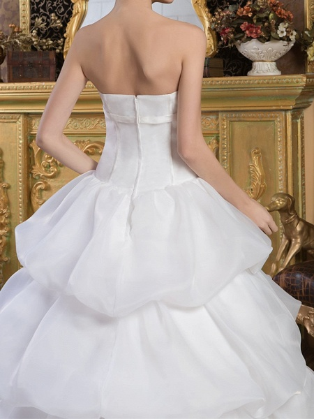Ball Gown Strapless Court Train Organza Satin Strapless Wedding Dresses_5