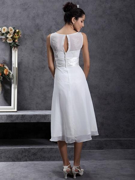 Sheath \ Column Wedding Dresses Scoop Neck Tea Length Chiffon Regular Straps Little White Dress_2