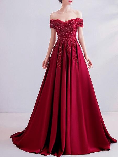 A-Line Wedding Dresses Off Shoulder Sweep \ Brush Train Satin Short Sleeve Romantic Plus Size Red_1