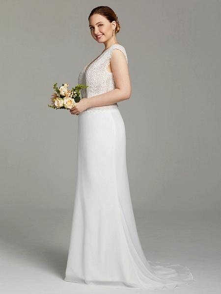 Mermaid \ Trumpet Wedding Dresses V Neck Sweep \ Brush Train Chiffon Lace Sleeveless Open Back See-Through_3