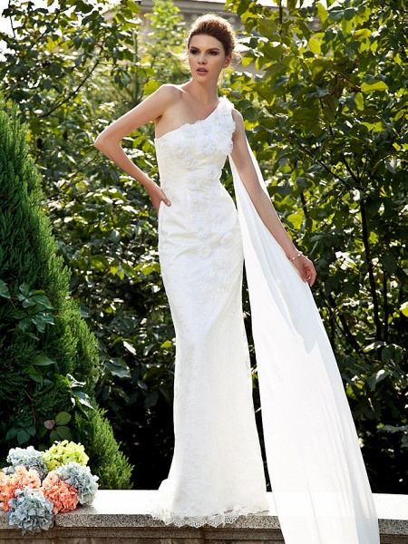 Mermaid \ Trumpet Wedding Dresses One Shoulder Sweep \ Brush Train Lace Sleeveless_1