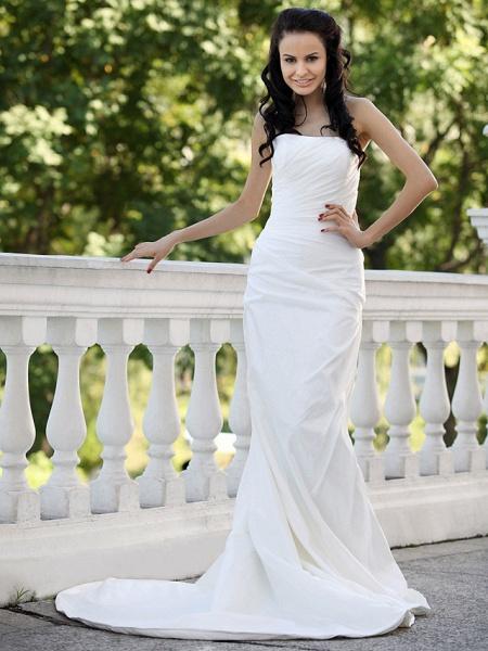 Mermaid \ Trumpet Wedding Dresses Strapless Court Train Taffeta Short Sleeve_7