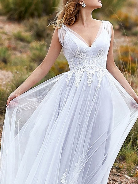 A-Line Wedding Dresses V Neck Sweep \ Brush Train Lace Tulle Sleeveless Beach Vintage Sexy Wedding Dress in Color See-Through Backless_3