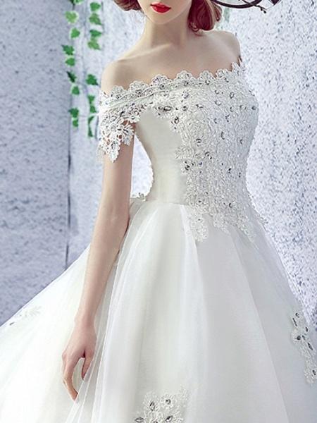 A-Line Wedding Dresses Off Shoulder Sweep \ Brush Train Lace Short Sleeve Beach Illusion Sleeve_3
