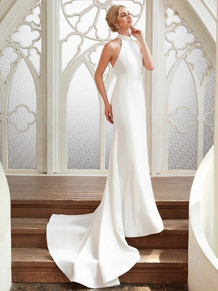 Sheath \ Column Wedding Dresses Halter Neck Court Train Chiffon Satin Regular Straps Simple Backless Elegant_3