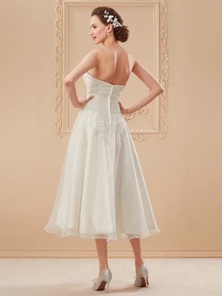 A-Line Wedding Dresses Bateau Neck Tea Length Organza Floral Lace Regular Straps Formal Casual Illusion Detail_15