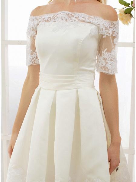 A-Line Wedding Dresses Off Shoulder Short \ Mini Satin Half Sleeve Formal Casual Illusion Detail_8