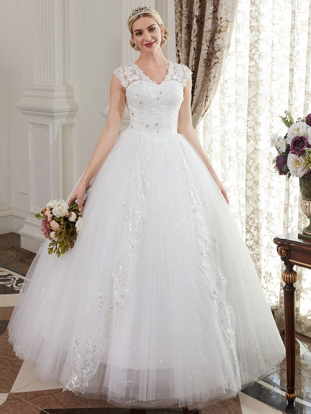 Ball Gown Wedding Dresses V Neck Floor Length Satin Lace Over Tulle Cap Sleeve Romantic Illusion Detail_2