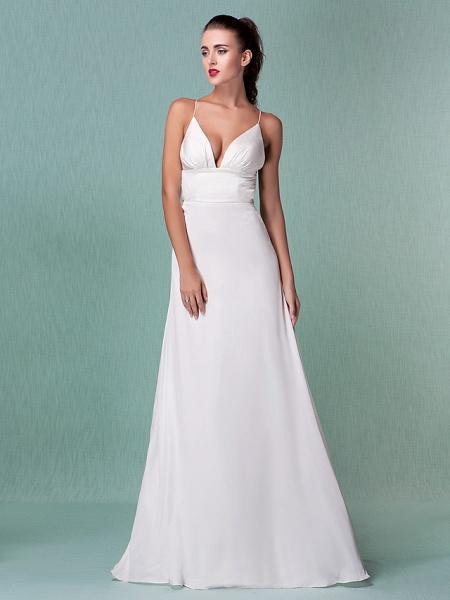 Sheath \ Column Wedding Dresses V Neck Floor Length Chiffon Spaghetti Strap Sexy Backless_9