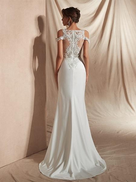 Mermaid \ Trumpet Wedding Dresses V Neck Asymmetrical Matte Satin Short Sleeve Casual Sexy Illusion Detail Modern_7