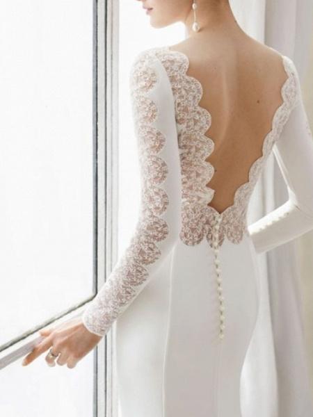 Sheath \ Column Wedding Dresses Jewel Neck Court Train Satin Long Sleeve_2