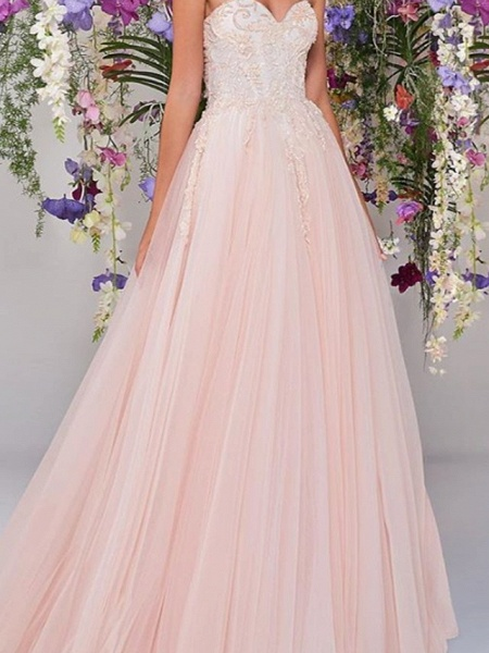 A-Line Wedding Dresses Strapless Floor Length Lace Tulle Sleeveless Country Wedding Dress in Color_2