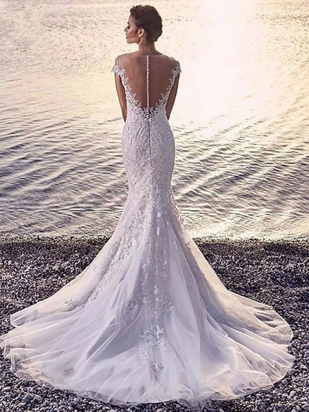 Mermaid \ Trumpet Wedding Dresses Scoop Neck Court Train Organza Sleeveless Sexy Wedding Dress in Color_2