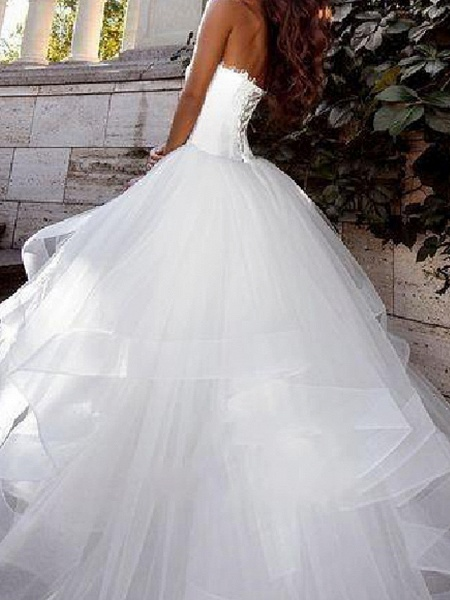 Ball Gown Wedding Dresses Strapless Sweep \ Brush Train Tulle Sleeveless Country Plus Size_3