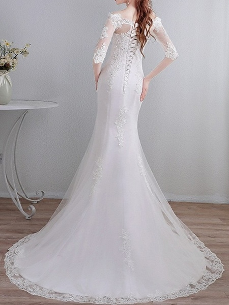 Mermaid \ Trumpet Wedding Dresses Off Shoulder Sweep \ Brush Train Lace 3\4 Length Sleeve Casual_3