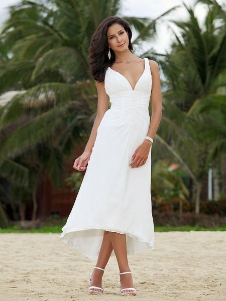 A-Line Wedding Dresses V Neck Asymmetrical Chiffon Spaghetti Strap Formal Casual Backless_2