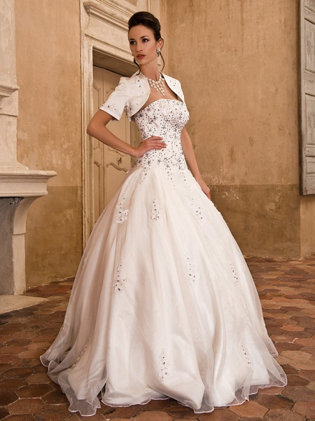 Ball Gown Wedding Dresses Strapless Floor Length Satin Short Sleeve Sparkle & Shine_2