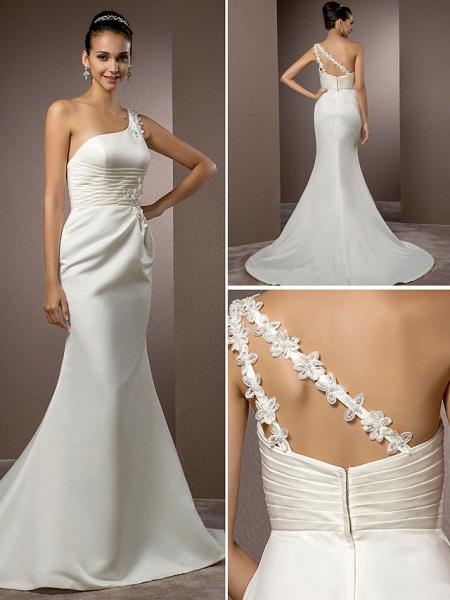 Mermaid \ Trumpet Wedding Dresses One Shoulder Court Train Satin Sleeveless_1