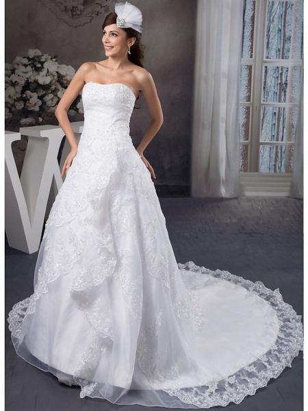 A-Line Strapless Chapel Train Lace Organza Satin Strapless Wedding Dresses_2