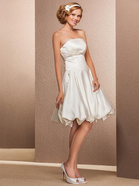 Ball Gown A-Line Wedding Dresses Strapless Knee Length Satin Sleeveless Little White Dress_2