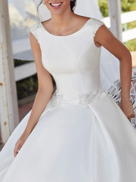 A-Line Wedding Dresses Jewel Neck Sweep \ Brush Train Satin Sleeveless Simple_3