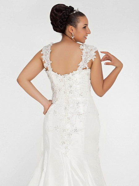 Mermaid \ Trumpet Wedding Dresses Square Neck Court Train Chiffon Regular Straps Vintage Sparkle & Shine Plus Size_7
