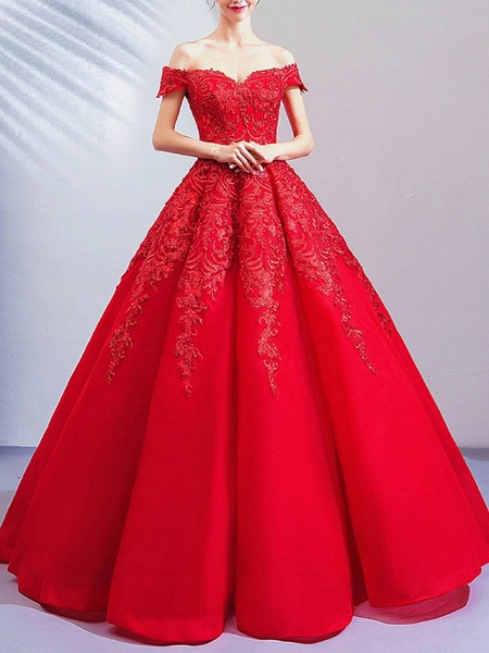 Ball Gown Wedding Dresses Off Shoulder Floor Length Lace Cap Sleeve Romantic Plus Size Red_2