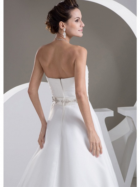 A-Line Sweetheart Neckline Court Train Lace Satin Tulle Strapless Wedding Dresses_5