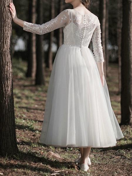 A-Line Wedding Dresses Jewel Neck Ankle Length Lace Tulle Long Sleeve Simple Little White Dress Elegant Illusion Sleeve_6