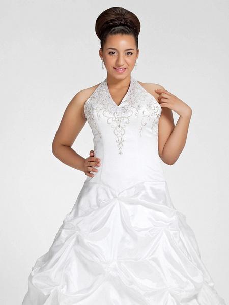 Ball Gown V Neck Court Train Taffeta Regular Straps Glamorous Vintage Plus Size Backless Wedding Dresses_3
