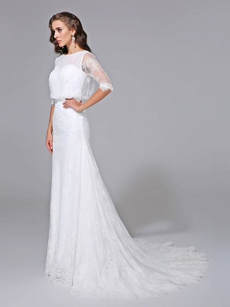 Mermaid \ Trumpet Wedding Dresses Scoop Neck Court Train Satin Lace Over Tulle Half Sleeve Simple Backless Illusion Sleeve_3