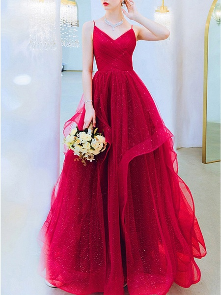 A-Line Wedding Dresses V Neck Floor Length Organza Sleeveless Romantic Plus Size Red_3