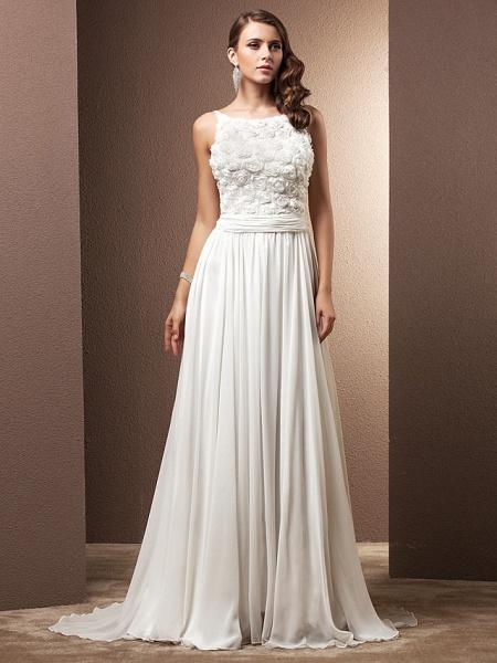 A-Line Wedding Dresses Scoop Neck Sweep \ Brush Train Chiffon Spaghetti Strap Formal_1
