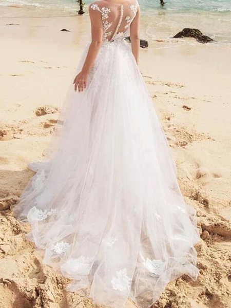 Mermaid \ Trumpet Wedding Dresses Jewel Neck Sweep \ Brush Train Lace Tulle Sleeveless Sexy See-Through_2