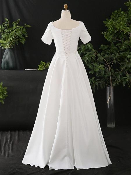 A-Line Wedding Dresses Scoop Neck Floor Length Satin Half Sleeve Formal Elegant_2