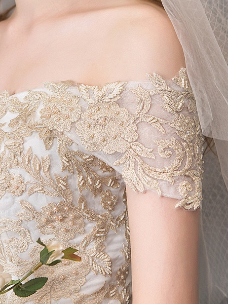 Ball Gown Wedding Dresses Off Shoulder Floor Length Lace Tulle Polyester Cap Sleeve Romantic Sexy_6